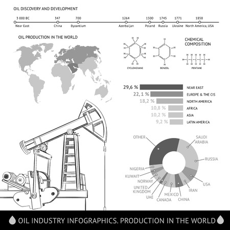 derrick: Oil derrick infographic with stages of process oil production. Illustration