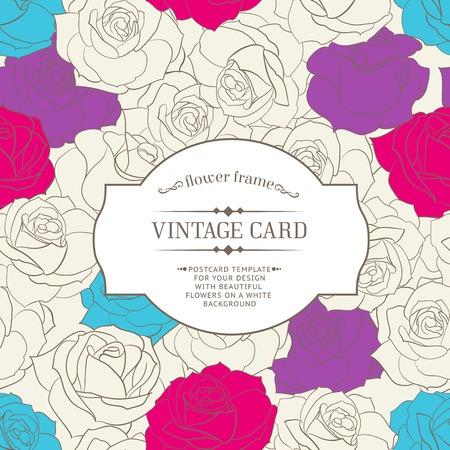 wedding backdrop: Floral frame for wedding invitations. Vector illustration.