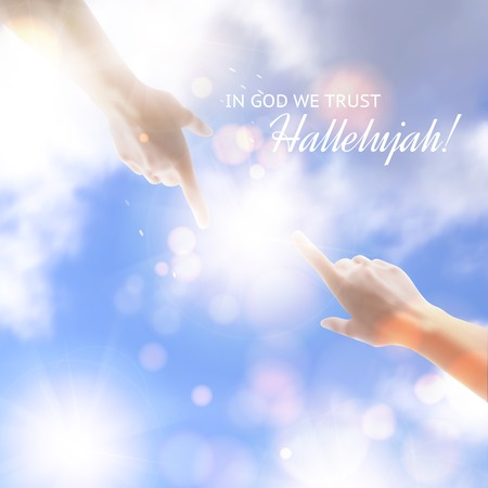 in god we trust: Two hands reaching towards each other over sky background. Vector illustration.