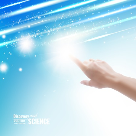 spiritual woman: Hand of human pointing with finger on sky.
