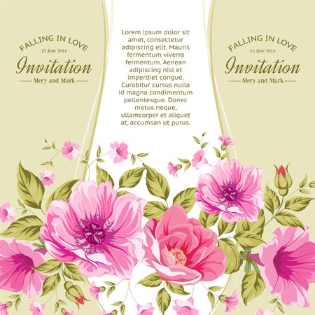 rose stem: Invitation card template with flowers of peonies. Vector illustration.