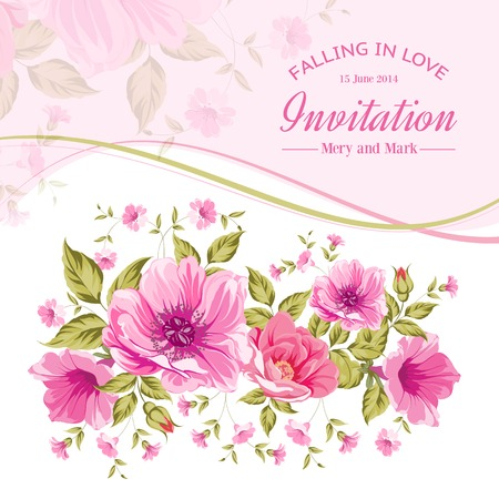Luxurious color peony background with a vintage label. Vector illistration. Фото со стока - 29366306