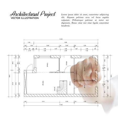 인간의 손에: 집 청사진 아키텍처를 가리키는 인간의 손입니다.