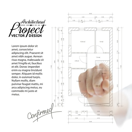Human hand pointing architecture on the house blueprint. Vector