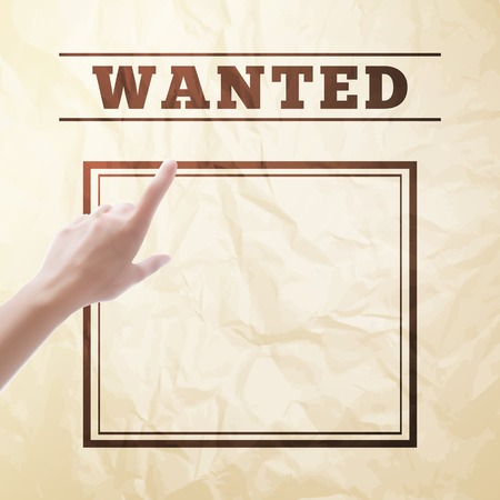 wanted: Wanted sign with hand pointing over it. Illustration