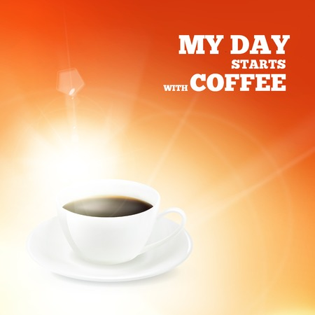 backround: Cup of coffee over red backround  Vector illustration