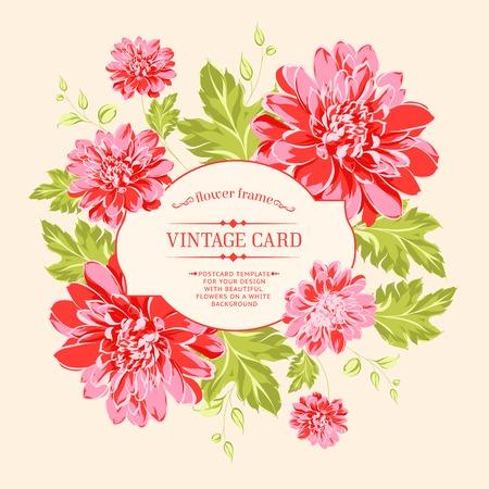 pfingstrosen: Luxuriöse rote Pfingstrose Hintergrund mit einem Label vintge Vektor-Illustration
