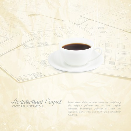 Coffee cup placed over blueprints sketches  Vector illustration  Vector