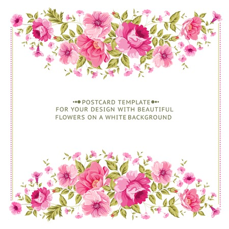 Luxurious vintage frame of color peony label Vector