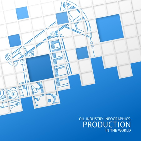 oil pipeline: Oil pump mosaic card for your design  Vector illustration  Illustration