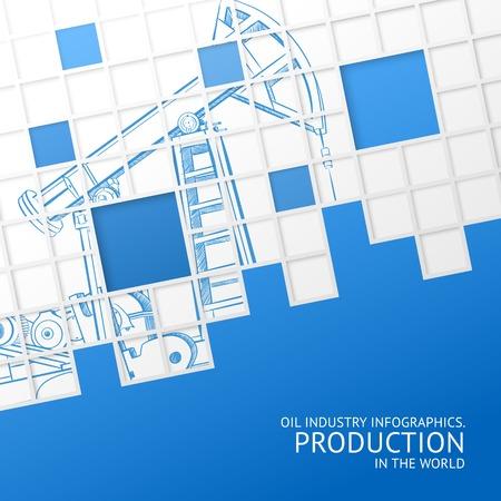 Oil pump mosaic card for your design  Vector illustration  Illustration