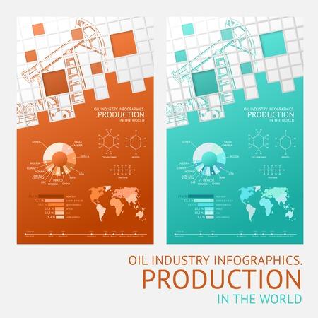 barrel tile: Oil infographic design with mosaic tile card Illustration