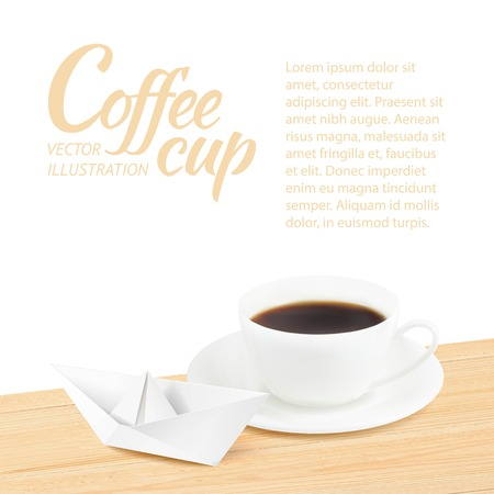 Coffee cup with paper ship over wooden table