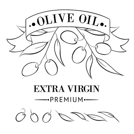 Vintage olive oil label for your design  Vector illustration  Vector