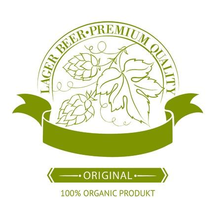 hop hops: Beer emblems and labels, green over white  Vector illustration