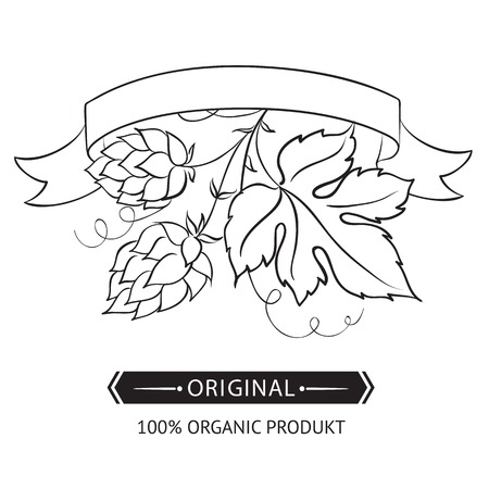 brewery  hops: Beer emblems and labels over white