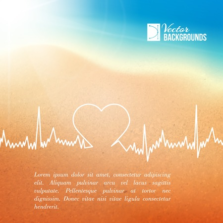 Heart shape ECG line over blurred background  Vector illustration  Illustration