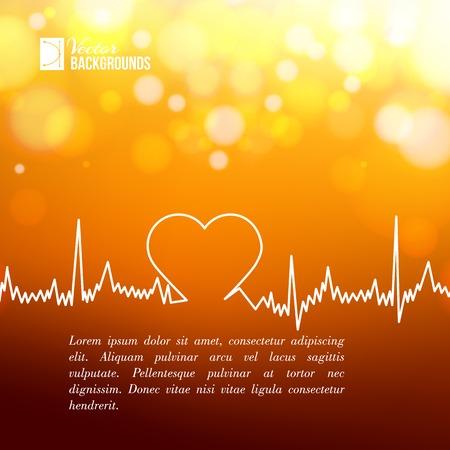 Línea de la forma del corazón de ECG más borrosa de fondo ilustración vectorial Foto de archivo - 30478709