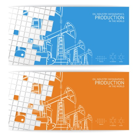Oil pump mosaic card for your design  Vector illustration  Vector