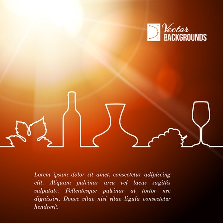 Style line of vine glass, bottle and grapes leaves  Vector illustration  Vector