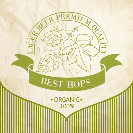 brewery  hops: Beer emblem isolated over white and ripe hops and leaves  Vector illustration