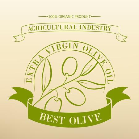 virgin: Vintage olive oil label for your design  Vector illustration