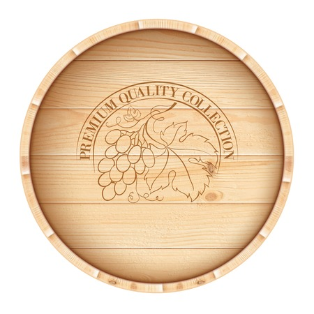 distillery: Wooden barrel with vine label isolated on white background  Vector illustration
