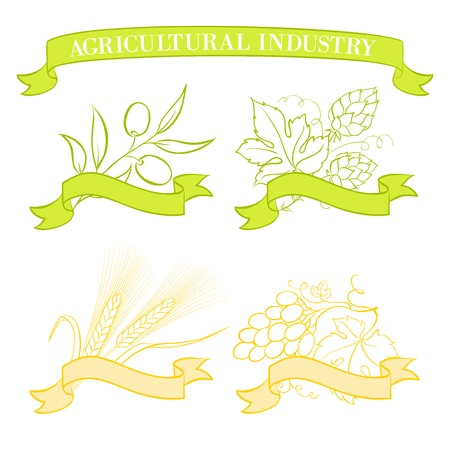 hop hops: Food emblems and labels, green and yellow over white  Vector illustration