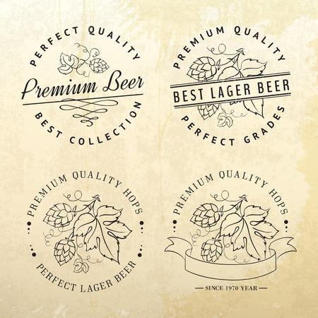 hop hops: Template design for vintage beer emblems and label  Vector illustration  Illustration