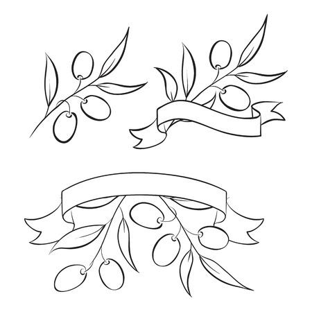 extra: Vintage olive oil label for your design  Vector illustration