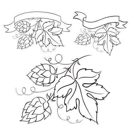 Beer emblem isolated over white and ripe hops and leaves  Vector illustration