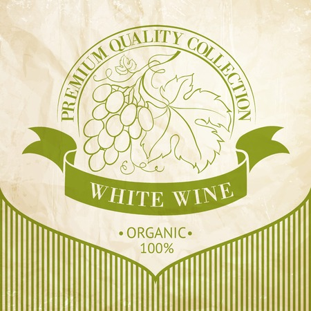 Design of label for wine with grapes  Vector illustration  Vector