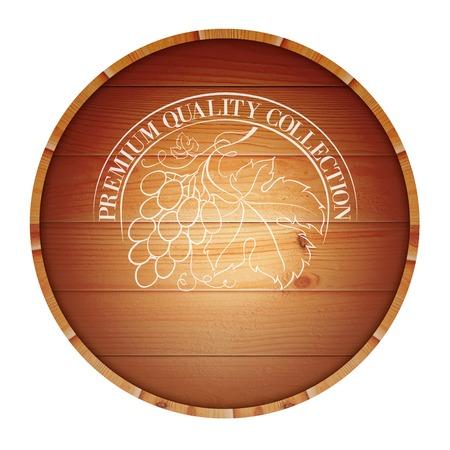 oak barrel: Wooden barrel with vine label isolated on white background  Vector illustration
