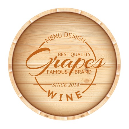 wooden barrel: Finest wine stamp over wooden barrel  Vector illustration