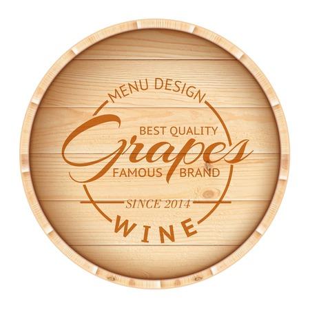 Finest wine stamp over wooden barrel  Vector illustration