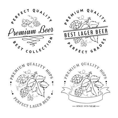 barley hop: Vintage beer emblems and label  Vector illustration
