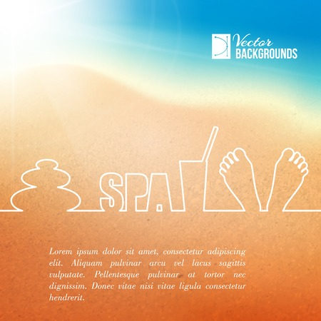 Foot care, spa label design with one line  Vector illustration  Vector