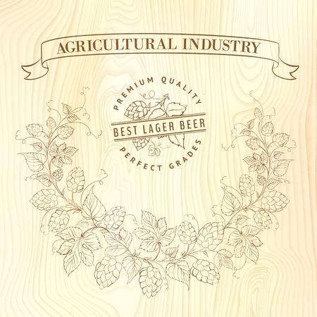Vector beer label over wooden barrel  Vector illustration  Vector