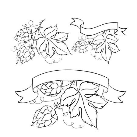 hop hops: Vintage beer emblems and label  Vector illustration