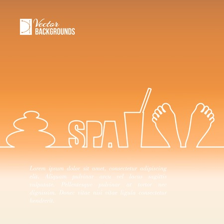 french manicure: Foot care, spa label design with one line  Vector illustration  Illustration