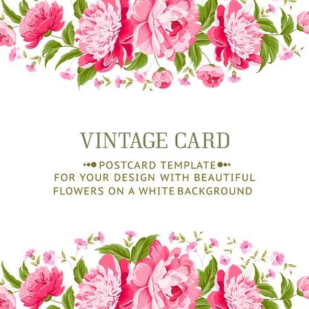flower bouquet: Frame met pioenen voor vitage kaart Vector illustratie