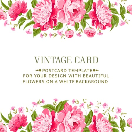 ramo de flores: Marco con peon�as para tarjeta vitage ilustraci�n vectorial Vectores