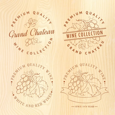 Logo design for wine with grapes  Vector illustration  Vector