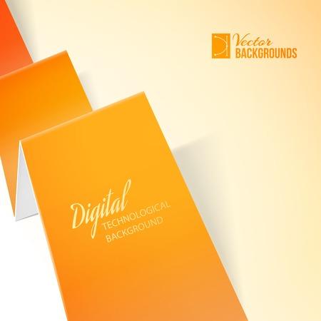 Orange paper over light background  Vector illustration