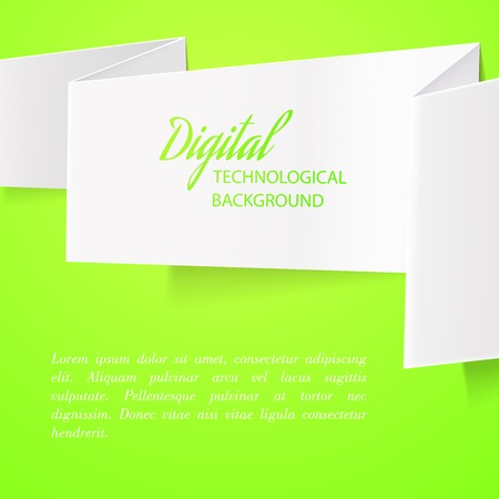White folded paper over green background  Ilustrace