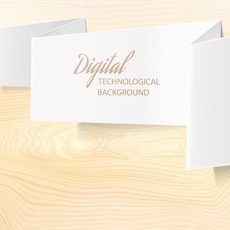 Folded paper over wooden desk  Vector illustration