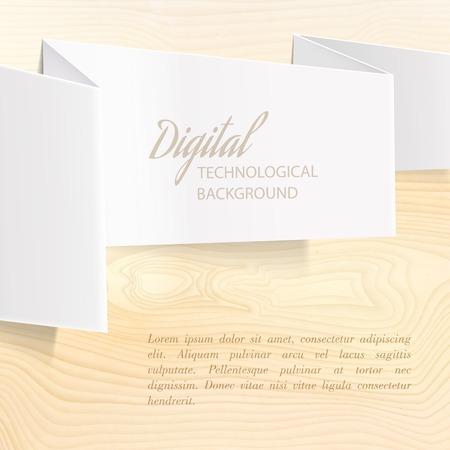 wooden desk: Folded paper over wooden desk  Vector illustration