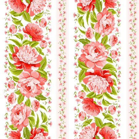 Elegant seamless peony fabric on white background  Vector illustration  Vector