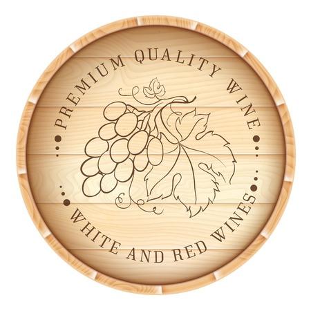 Houten vat met wijnstokken label geïsoleerd op witte achtergrond Vector illustratie Vector Illustratie