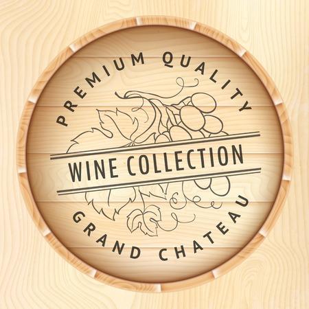 Wooden barrel with vine logo  Vector illustration  Vector